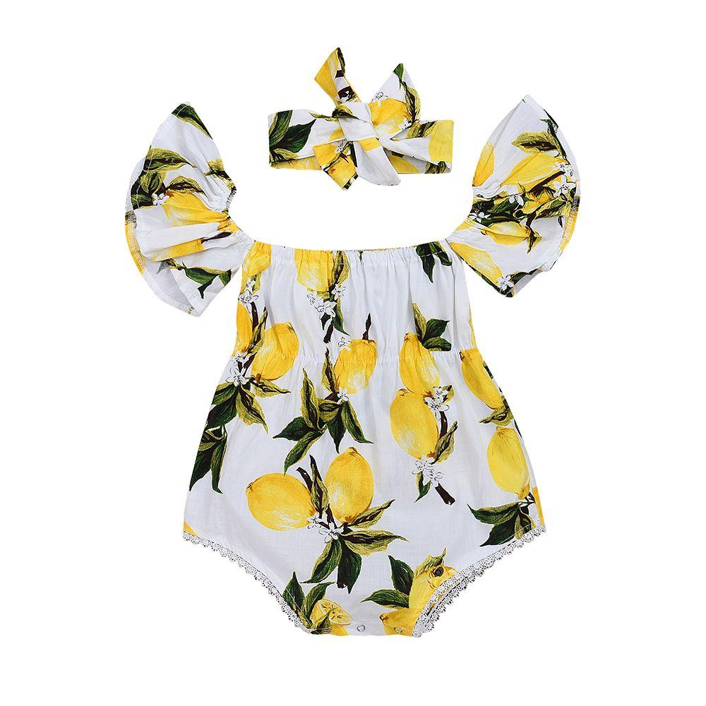 Fashion Kids Baby Girl Fruit Printed Headband+Romper Outfits Floral Ruffles Clothing Summer Cotton Clothes Set 0-24M