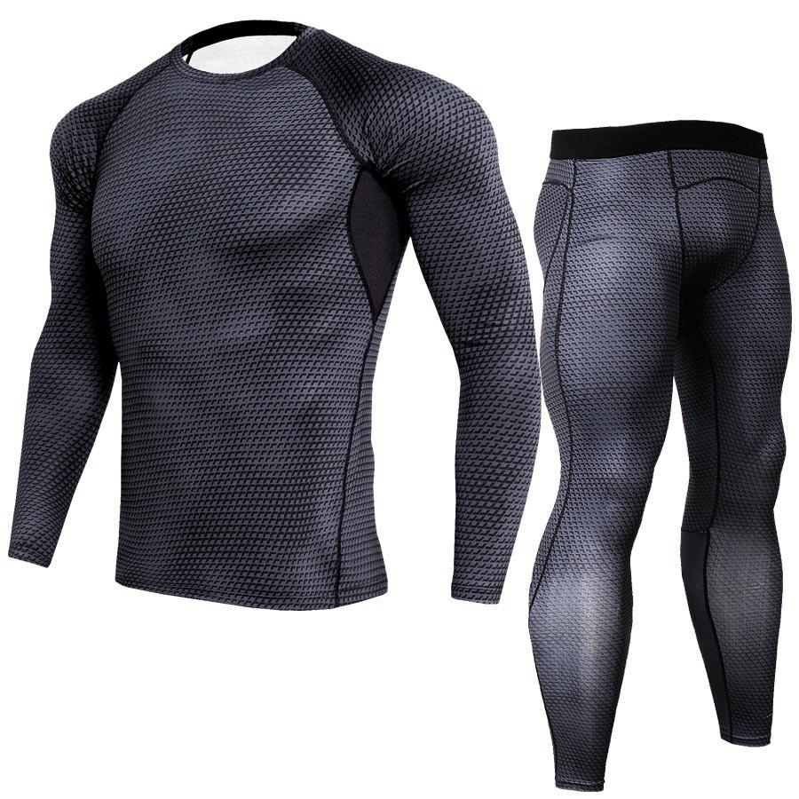 Body-building Fitness Tight Sport Suit Men Long Sleeve Shirt +Pant Men's Running Set Compression Gym Quick Dry Men's Sportswear