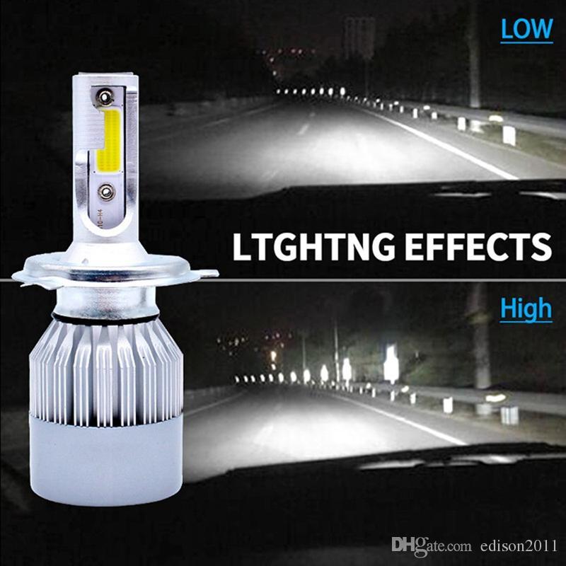 Edison2011 Car Head Light LED C6 Car headlights H1 H3 H4 H7 9006 COB auto front fog light bulb 7200LM 9V-36V 6000K Headlight