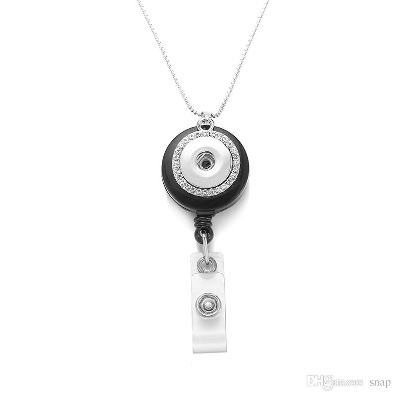 033 Fit 18mm Snap Button Retractable Pull Badge Reel ID Lanyard Name Tag Card Badge Holder Reels Key Ring Chain Clips Necklace