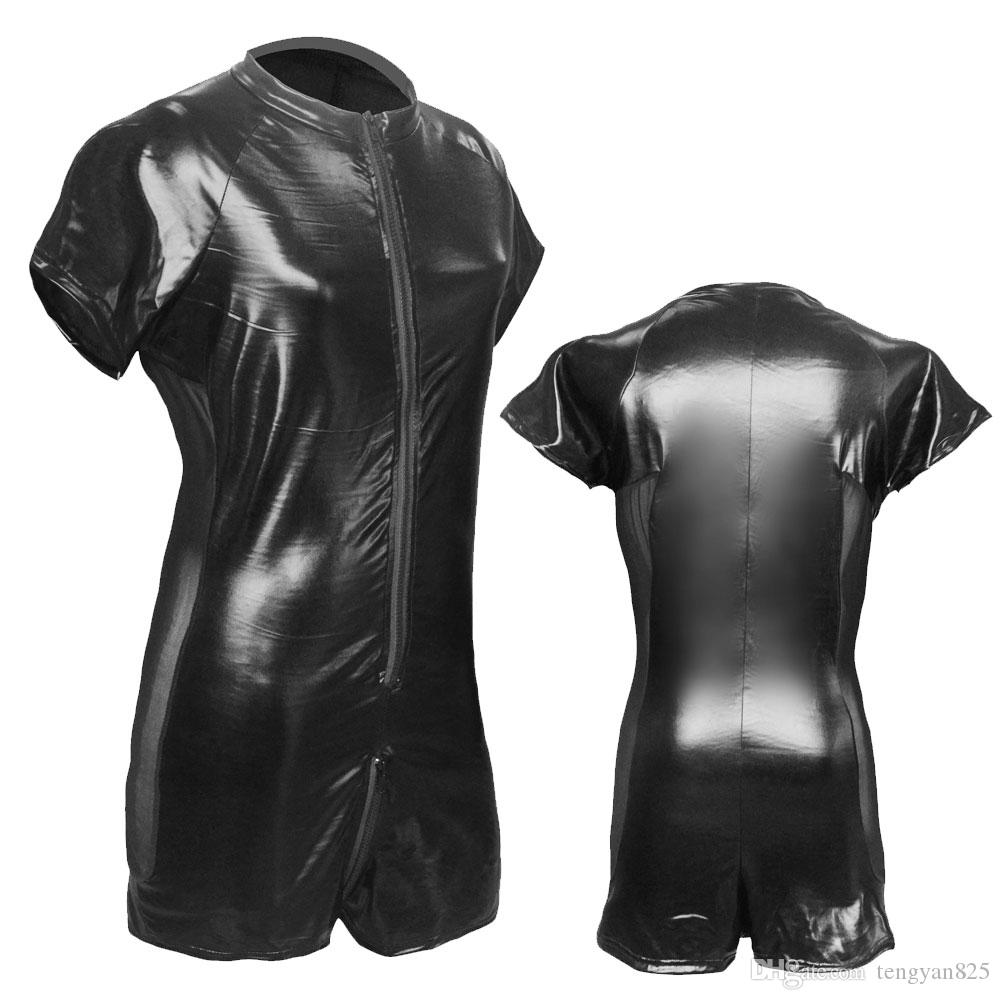 b4029a9c57e Sexy GAY Men s Bondage Fetish Black Stretch PVC Look Latex Spandex jumpsuit  S-3XL X6016