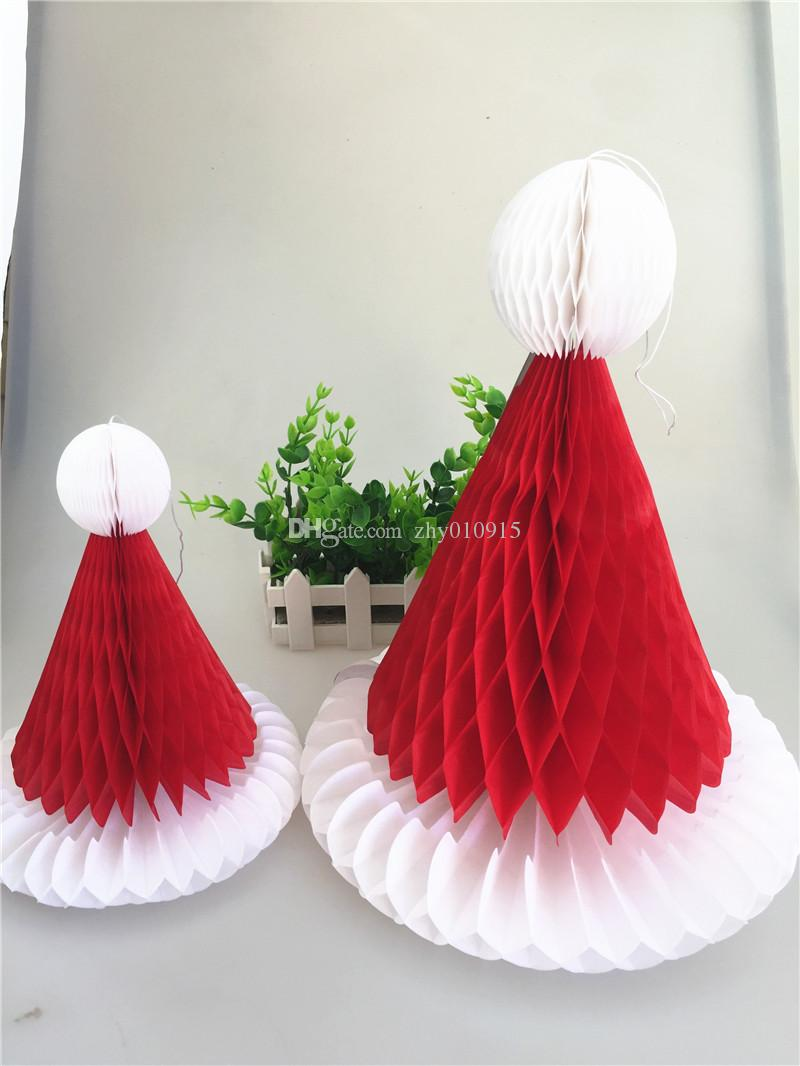 20cm 30cm handmade tissue paper honeycomb santa hat with string
