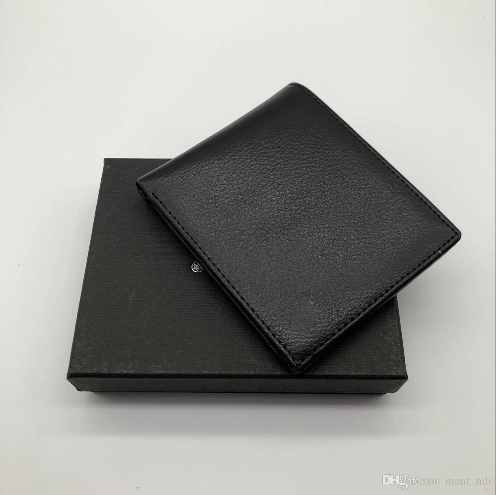 new luxury fashion m b best selling mens business wallet short wallet mt card holder wallet mb high end gift box package handmade leather wallet best front - Best Card Holder Wallet
