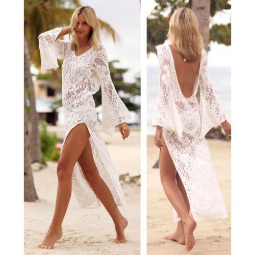 2ecb39bb7dffd 2019 HOT Summer Women White Lace Crochet Dress Soft Beach Top Kaftan  Caidigan Beach Dress From Yuedanya, $21.58 | DHgate.Com