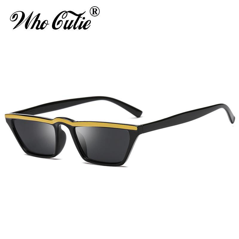 5056286e204 WHO CUTIE 2018 Small Rectangle Sunglasses Women Vintage Skinny Narrow  Leopard Frame Chic Cat Eye Sun Glasses Shades Oculos 514 Fastrack  Sunglasses Smith ...
