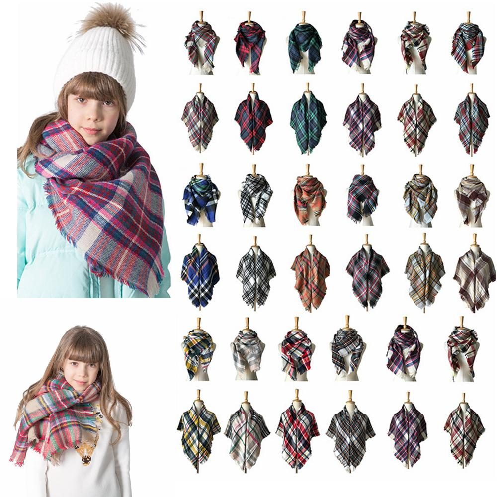 100*100cm Children Girls Square Plaid Scarf Winter Plaid Scarf Baby Shawl Scarves kids Wraps Cashmere winter 16 Styles120pcs AAA933