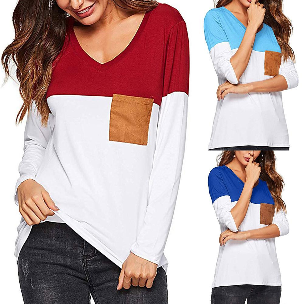 156da30fe38f4 Women Casual Color Block T Shirts Scoop Neck Long Sleeves Tops With Pocket  Female Autumn Hit Color Elegant Slim Tee Shirt Printed Shirt Best Tshirts  From ...