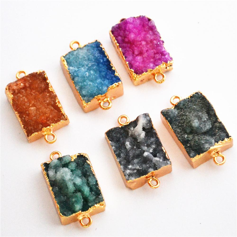 gate connector 20*16mm Natural Stone Jewelry Suppliers Gold Crystal Gem  Stone Slice Pendant Agates Connector Drusy Agates Slices Charms 5