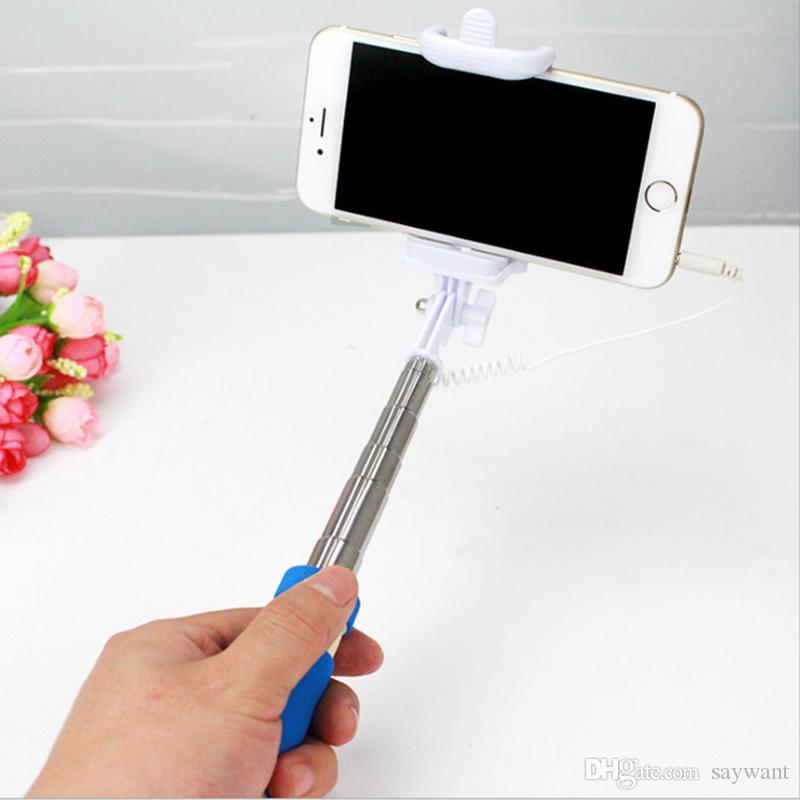 Monopod Wired Selfie Stick Super Mini Cable Take Pole Foldable all-in-one Monopod Self Timer Kit With Groove For Smartphone In Retail Box
