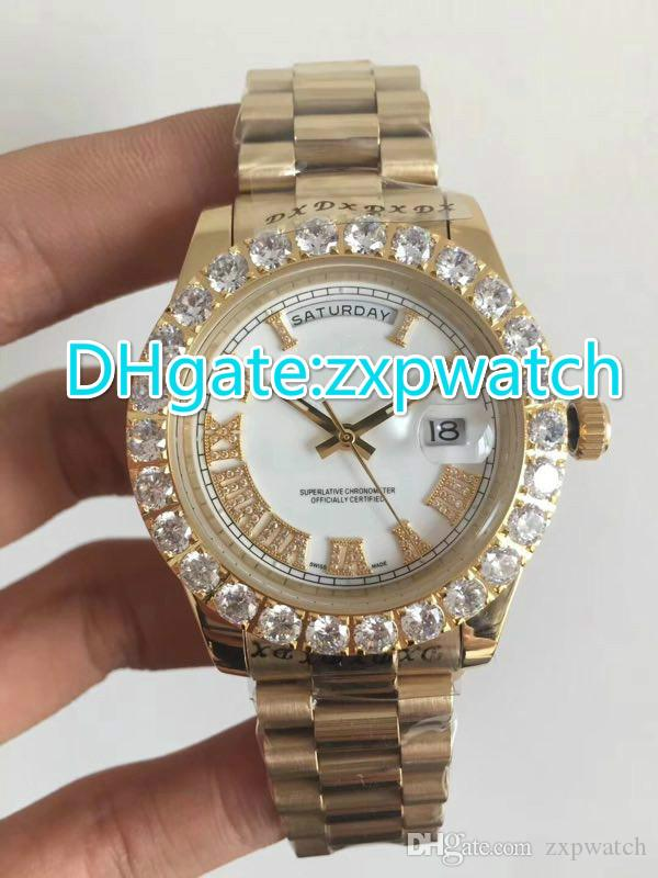 Prong set diamonds bezel watch automatic mens luxury gold case white dial Roman markers day date AAA watches size 42mm
