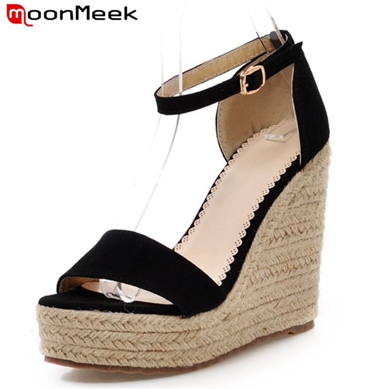 MoonMeek New Arrive Women High Heels Sandals Fashion Buckle Platform Summer  Shoes Simple Super High Wedges Shoes Ladies Shoes Wedge Sneakers Sandal  From ... ea923985ecbc
