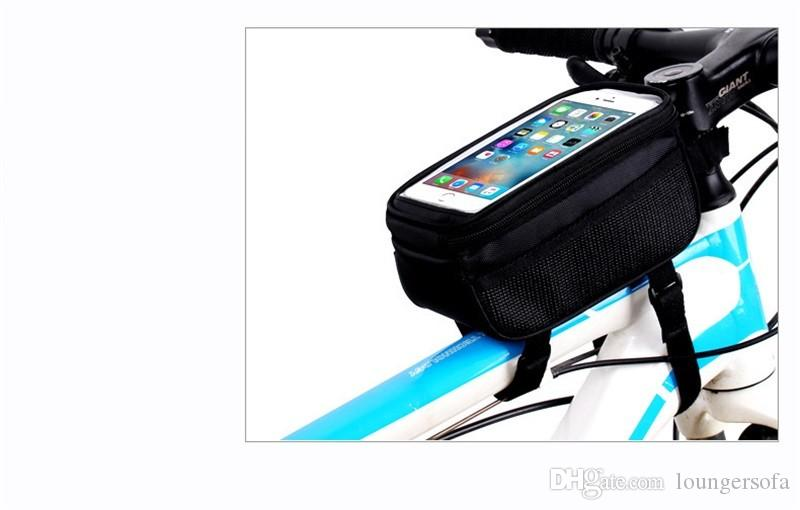Sacos de tela de toque do telefone móvel portátil bicicleta bicicleta acessórios Portale ciclismo panniers quadro tubo frontal bag 12 3qx ww