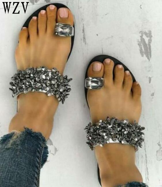 Woman Sandals 2018 Summer Women Concise Platform Open Toe Casual Shoes Woman Fashion Rhinestone flat Sandals for