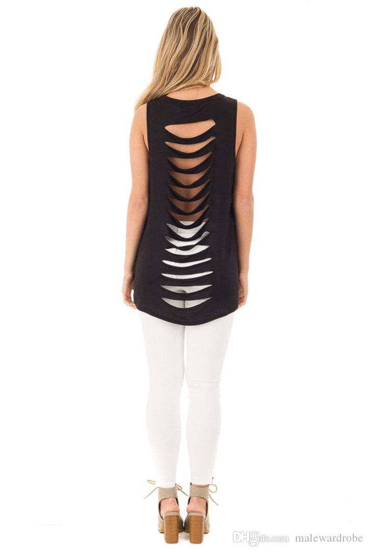 Frauen-Sommer-T-Shirt-Trägershirt-Rückseiten-Loch-Entwurfs-Oansatz-lange T-Shirt T-Stücke für weibliche zufällige Strand-Kleidung