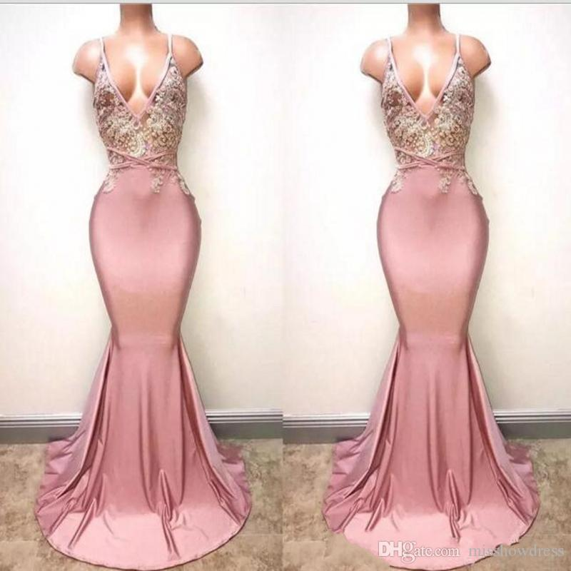 Prom Dresses 2018 Elegant Dusty Pink Sexy Spaghetti Straps Deep V ...