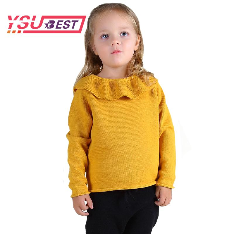 02e3cd2841fb 2018 New Girls Lotus Leaf Collar Sweater Children Sweater Shirt ...