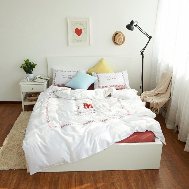 Großhandel 100 Baumwolle New York Bettwäsche Set Bettlaken Weiß