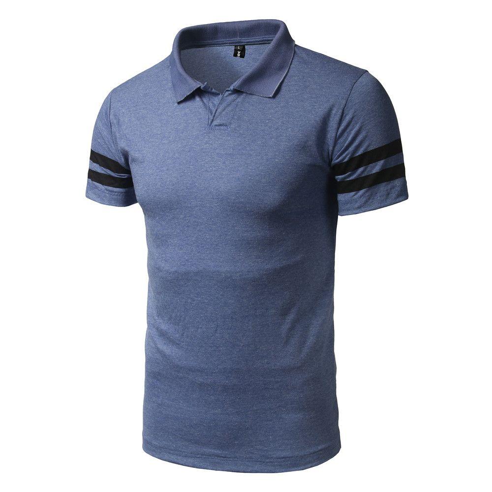 1120468d6 2018 Fashion Summer T Shirt Men Cotton Short Sleeved Stripe Turn Down  Collar Tees Tops Brand T Shirt Men Business Casual T Shirt Designer White Tee  Shirts ...