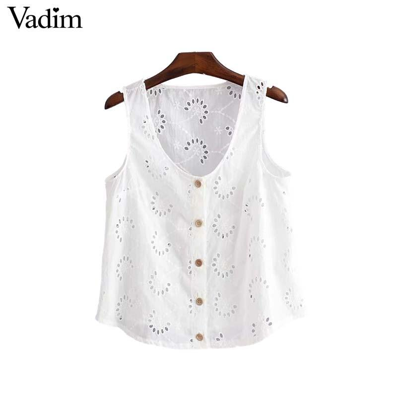 2019 Vadim Women Hollow Out Embroidery Blouse Buttons Sleeveless