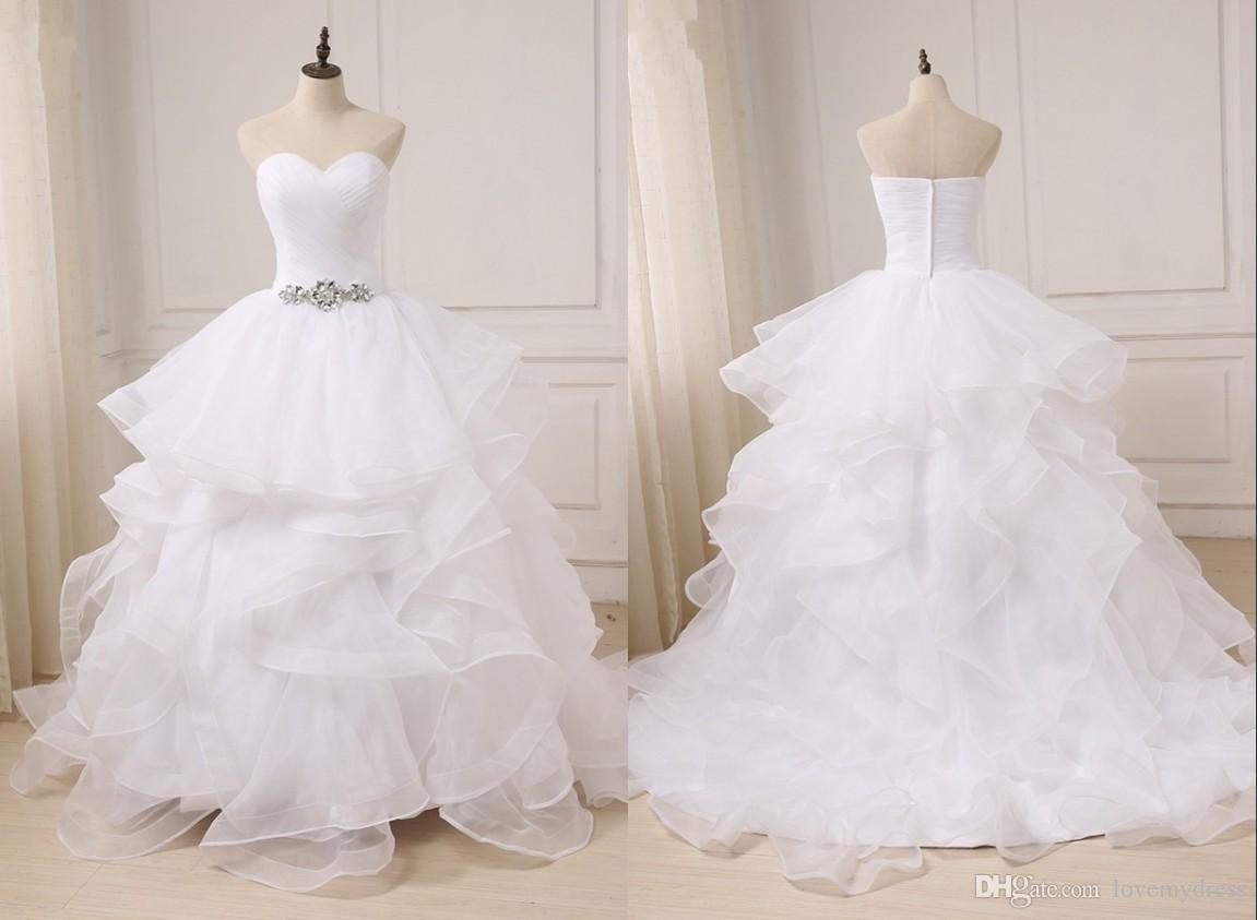 71c8de121 Fashion Ball Gown Ruffles Wedding Dresses Sweetheart Crystal Rhinestones  Organza Backless Court Train Pleated Wedding Gowns Vestido Backless Wedding  Dresses ...