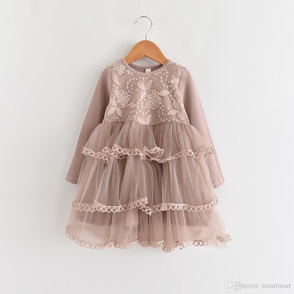 c2cc0aa352b 2019 Everweekend Kids Girls Princess Party Cake Layered Lace Dress Floral  Tulle Ruffles Candy Color Dress Tutu Patchwork Cute Clothes From Smartmart