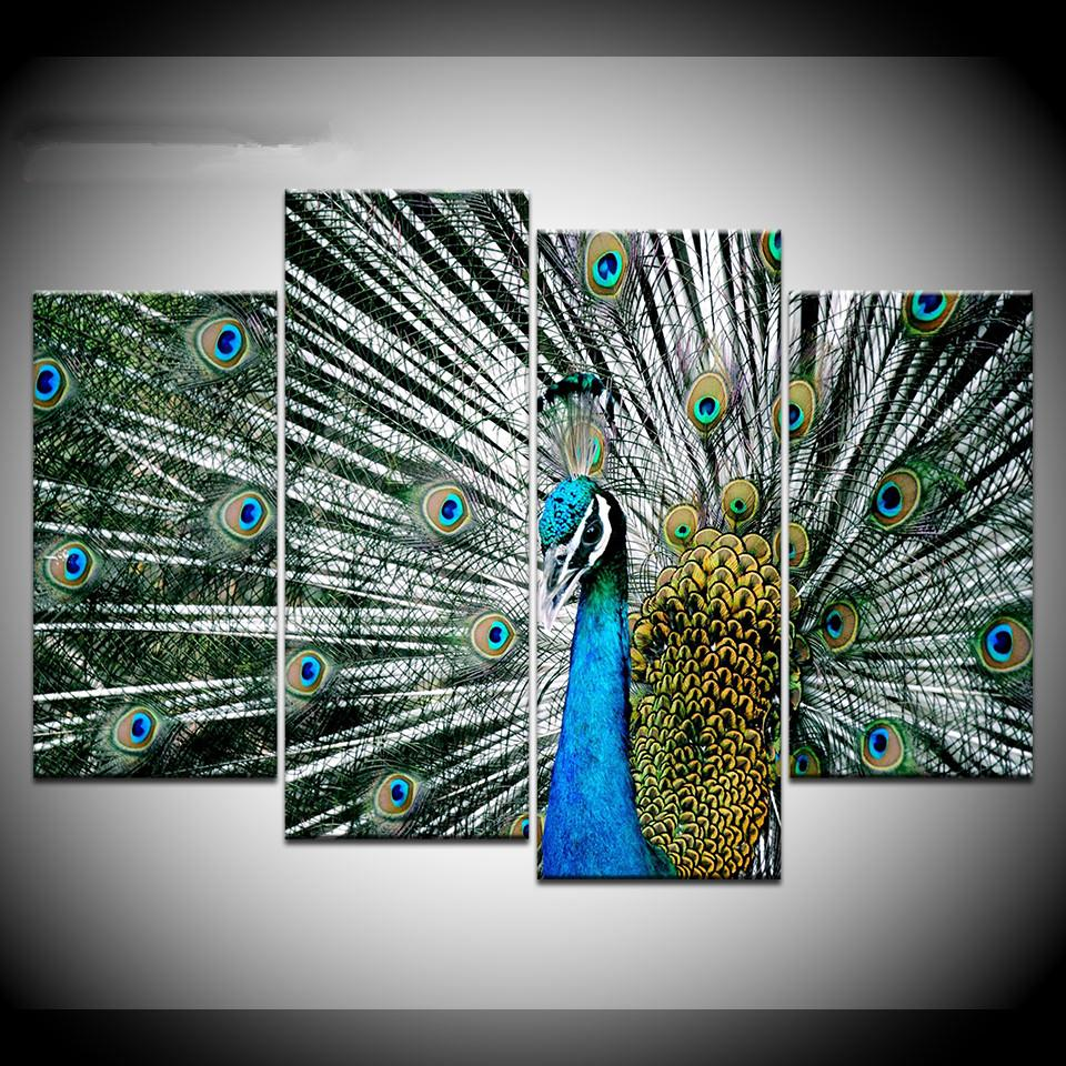 2f120bb8736 2019 Canvas Wall Art Pictures Frame Home Decor Living Room Beautiful Blue Peacock  Painting HD Printed Animal Poster Artwork From Aliceer