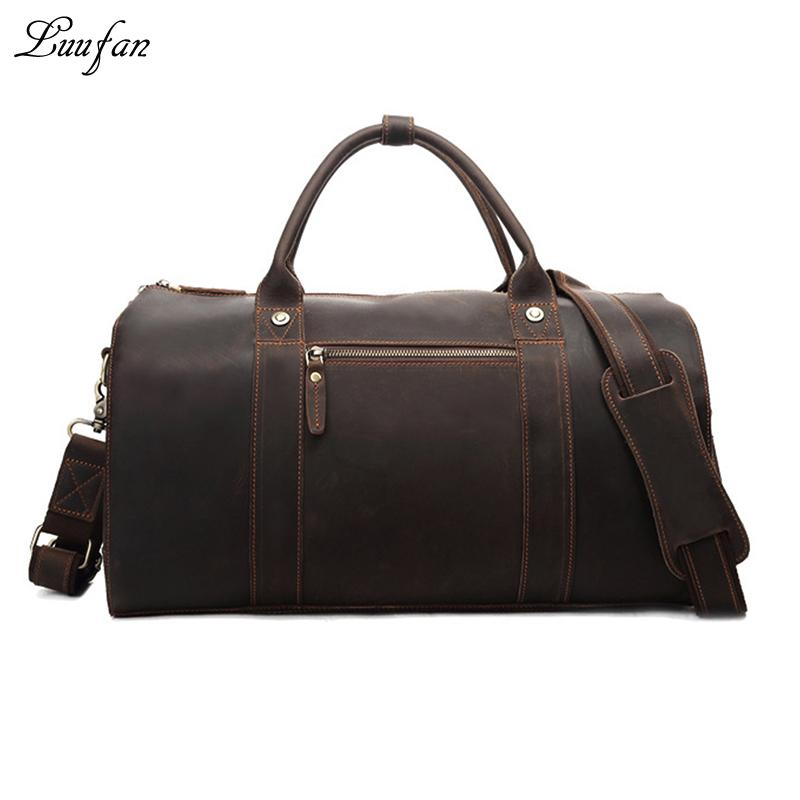Men s Crazy Horse Leather Boston Bag Brown Genuine Leather Travel ... 0753d82799