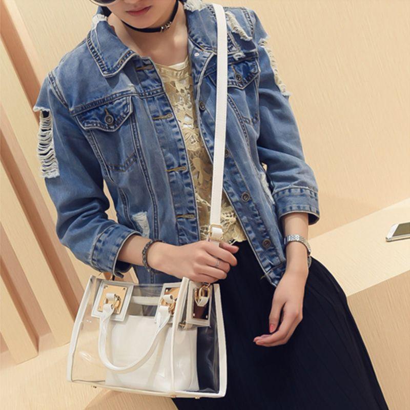 62513425ee 2018 New Fashion Women Clear Transparent Shoulder Bag Summer Beach Handbag  Woman Messenger Bags Bolsa Feminina Designer Handbags School Bags From  Super05