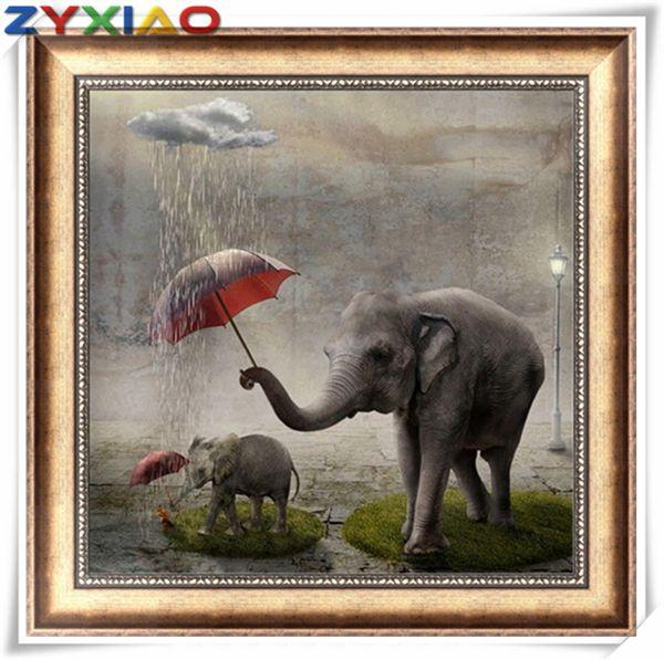 3ce540d3e1 2019 Mosaic Home Decor Gift Animal Elephant Rain 5D Diy Diamond Painting  Cross Stitch Kit Full Round&Square Diamond Embroidery Wisdom Toy AA0635  From ...