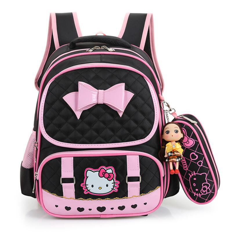 a54665a08f Hello Kitty School Bags For Girls Cute Waterproof Backpacks Children  Schoolbags Kids Bookbags Suit Satchel Mochila Escolar Y18100705 Backpack  With Wheels ...
