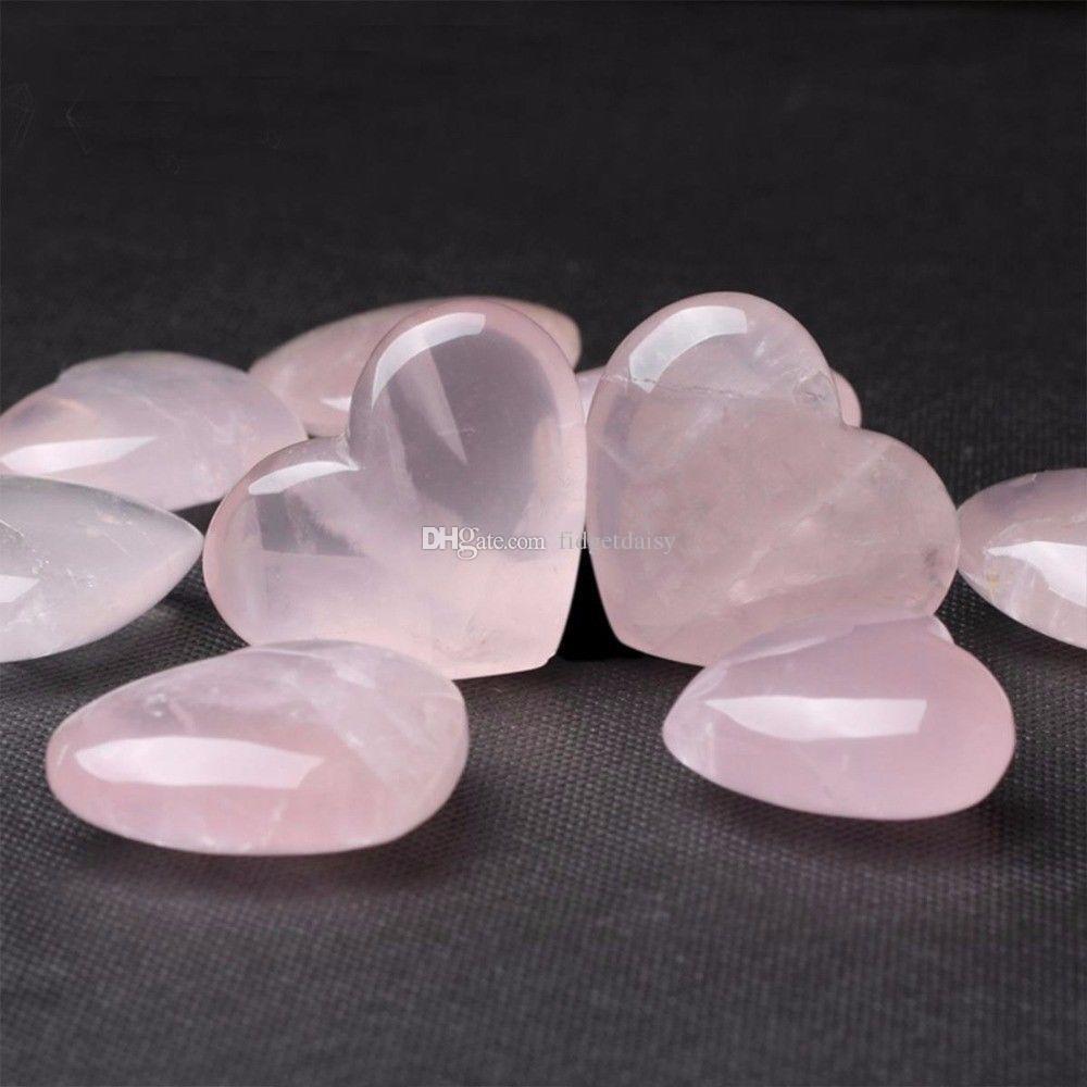 Natürliche Rosenquarz herzförmige rosa Kristall geschnitzt Palm Liebe Heilung Edelstein Liebhaber Gife Stein Kristall Herz Edelsteine