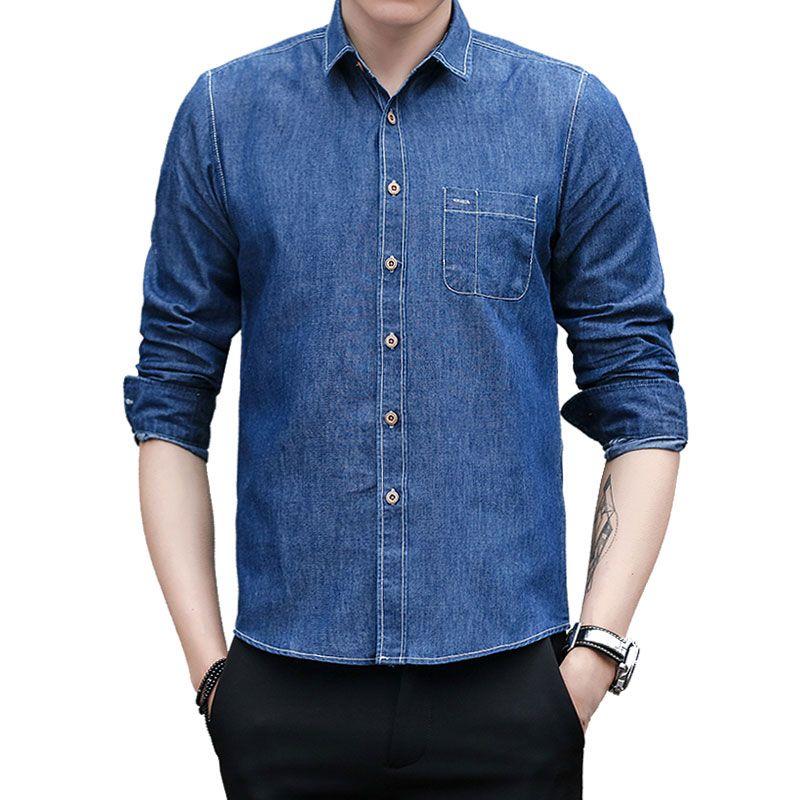 d3ad8973f Camisas de mezclilla sin mangas 100% algodón sin hierro Ropa para hombres  2018 Camisas de vestir para hombre de manga larga Camisa sin mangas para ...