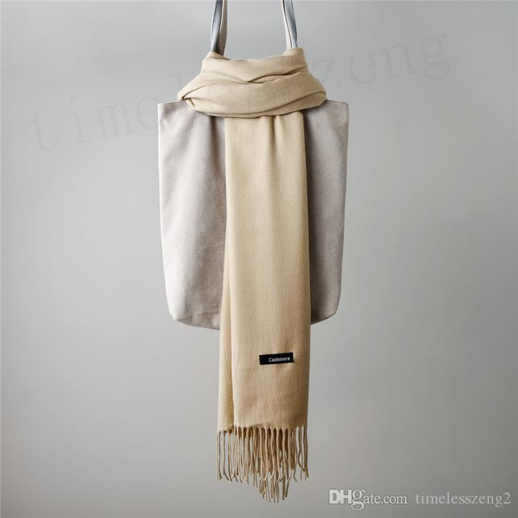 Solid Cashmere Scarf Autumn Winter Plain Tassels Scarf Man And Women Pashmina 200*65cm Classic Cashmere Shawl Warm Wraps