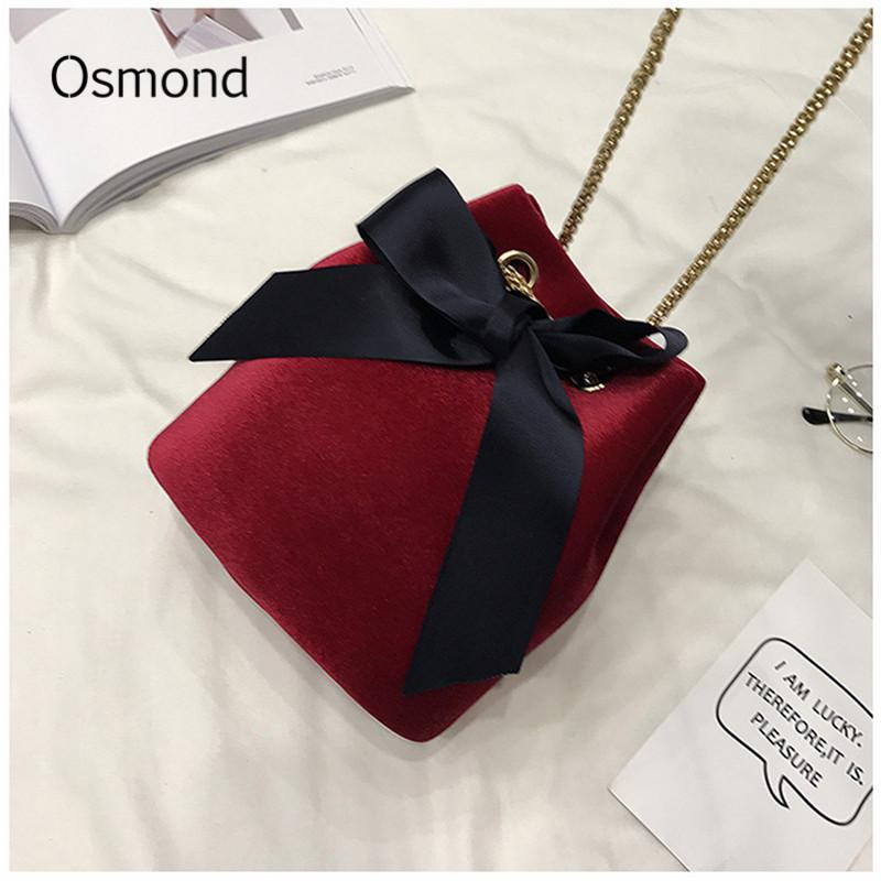 5504d8af2d58 Osmond Velvet Bucket Bag Small Chain Bags Women Crossbody Bag Small Vintage  Shoulder Bags Winter Bowknot Mini Handbag Lady Bolsa Bag Women Crossbody  Mini ...