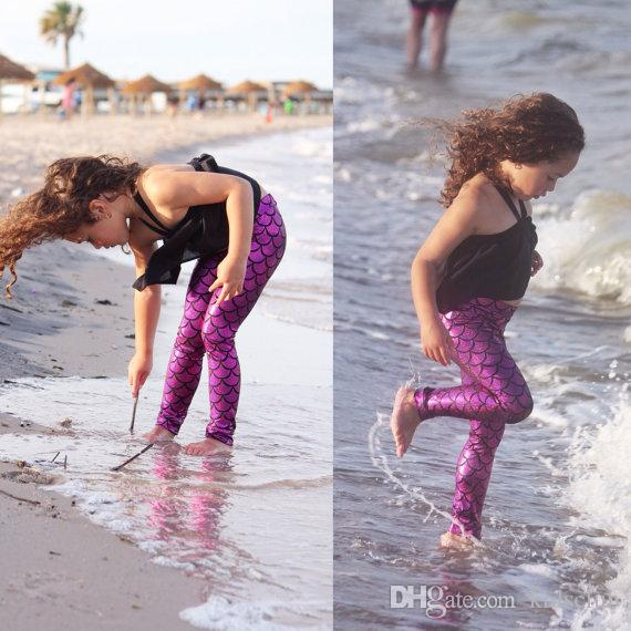 Spring and Summer Models Europe and The United States Wind Mermaid Fish Scale Female Models Children's Leggings