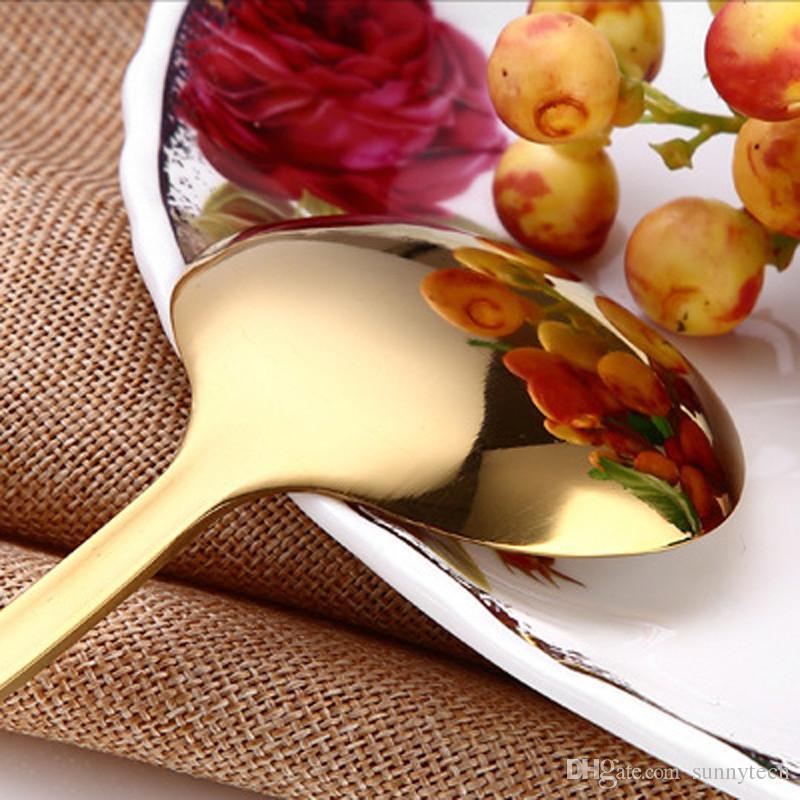 Золотая чайная ложка из нержавеющей стали мини-Золотая кофейная ложка для чая с молоком маленькая посуда посуда кухня столовая инструменты LX0090