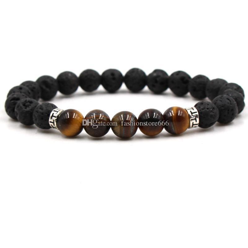 Природные черный лавовый камень бусины 7 чакра браслет эфирное масло диффузор браслет тигровый глаз бирюзовый вулканический рок бисером йога браслеты