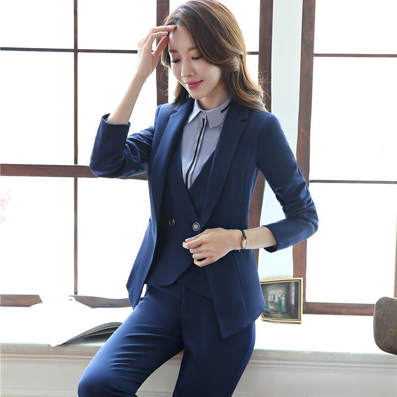 3aae4e8538c4f Autumn Winter Professional Formal Pantsuits Business Women Suits 3 pieces  With Jackets + Pants + Vest Blazers Uniforms Styles