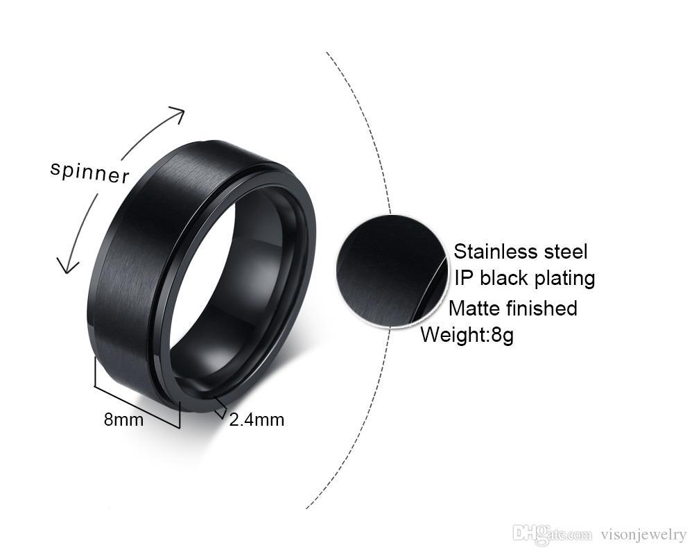 Free Name Engraving 8mm Black Matt Finish Spinner Wedding Rings in Stainless Steel