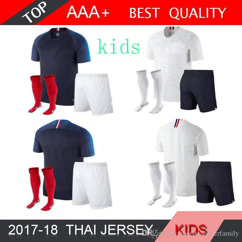 e2fe51dba 2019 GRIEZMANN MBAPPE Kids Kit Soccer Jersey Boys Child World Cup 2018  POGBA UMTITI LACAZETTE Football Shirt SOCK Uniforms Maillot De Foot From ...