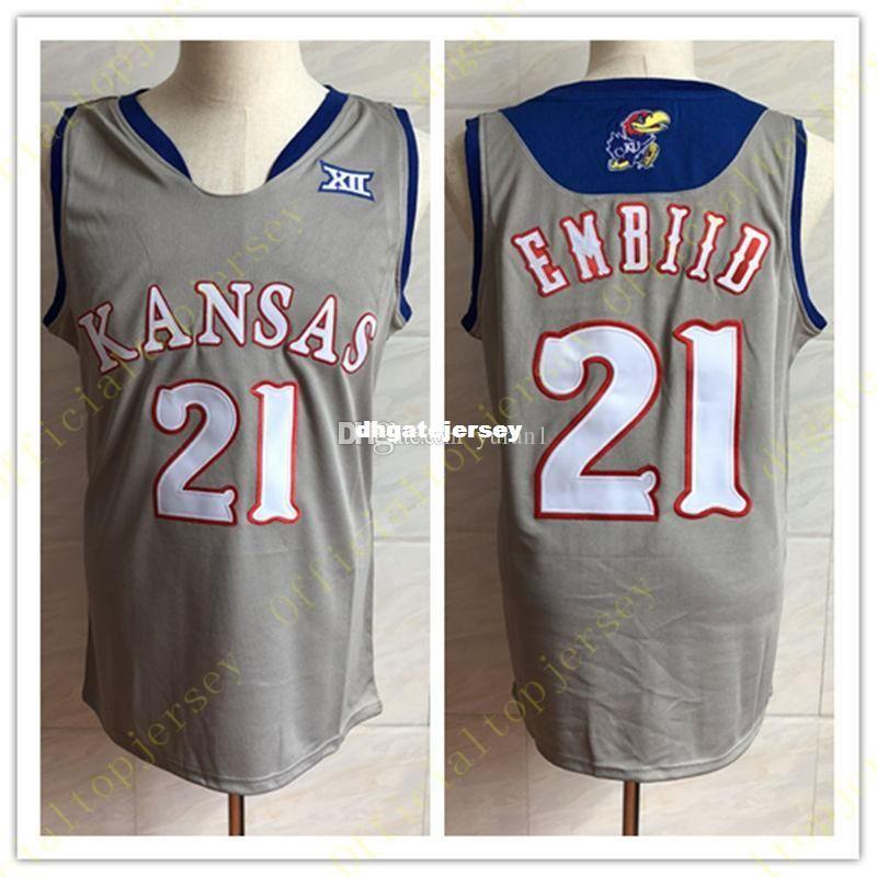 d76ef686c australia 2018 cheap 21 joel embiid kansas jayhawks ku college basketball  jersey mens embroidery stitched custom