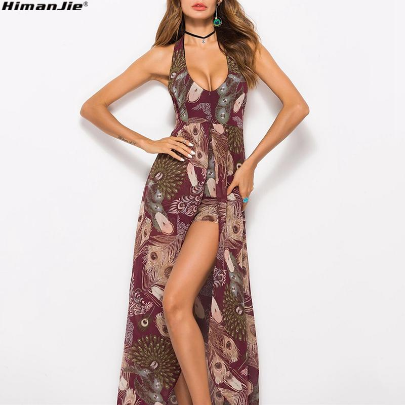 Summer 2018 Backless Dresses Women S Sleeveless V Neck Floral Print Split  Beach Party Maxi Romper Long Chiffon Dress Vocation Party Dresses Juniors  Buy ... b79a45507