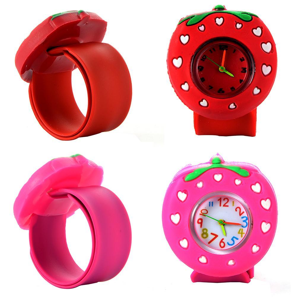 Children Slap Watch Strawberry Quartz Wristwatch Fashion Lovely Silicone  Band Kids Watches Cute Baby Clock Relogio 3D Cartoon Watch