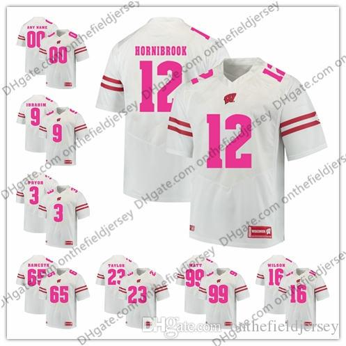 2019 Custom Wisconsin Badgers 2018 Mother Days NCAA College Football Pink Jerseys  Stitched Any Name Number Taylor Ball Wilson Tate JJ Watt S 3XL From ... 19c7e2ca9