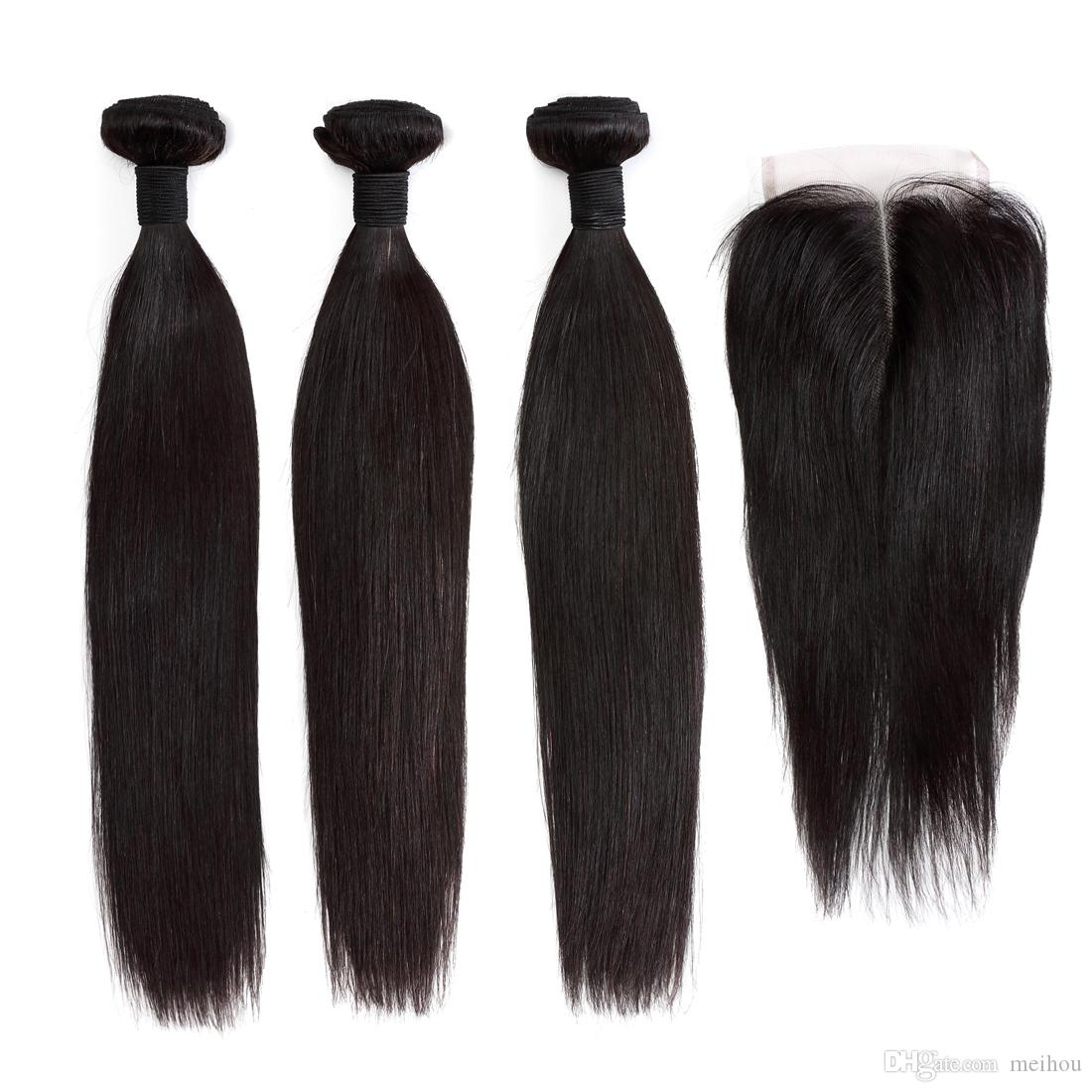 Brazilian Virgin Human Hair Wefts With Closure Straight Human Hair