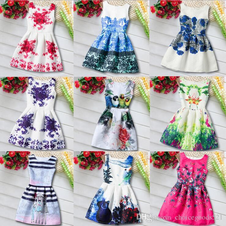 fa9d3c87d 2019 New Girls Floral Dress Princess Sleeve Less Graffiti Dress ...