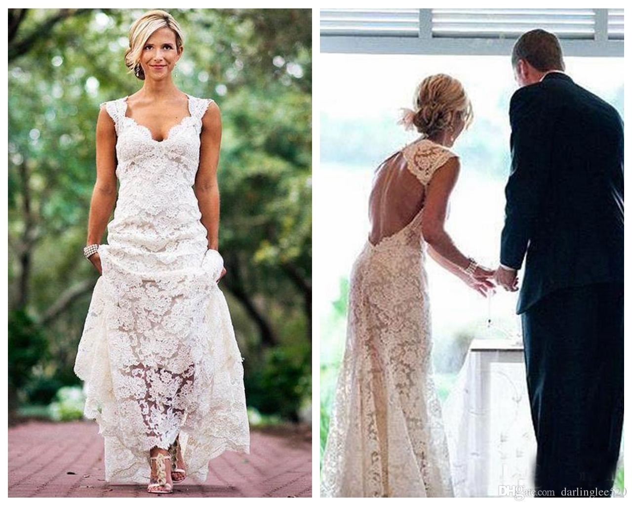 ff88bd52c2d1 Sheath Wedding Dress V Neck Keyhole Back Cap Sleeve Floor Length Illusion  Vestidos De Noiva Bridal Dress 2018 White Simple Wedding Gowns Simple  Wedding ...