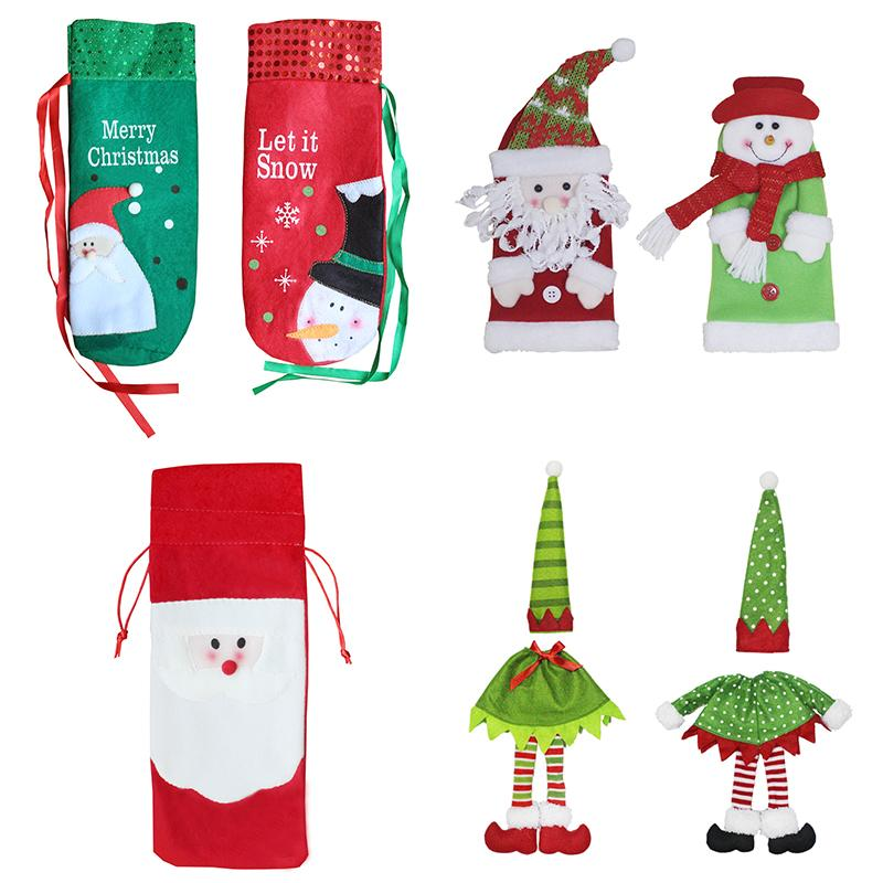 Christmas Wine Bottle Decor bag Santa Claus Snowman Deer Bottle Cover Clothes Kitchen Decoration for New Year Xmas Dinner Party
