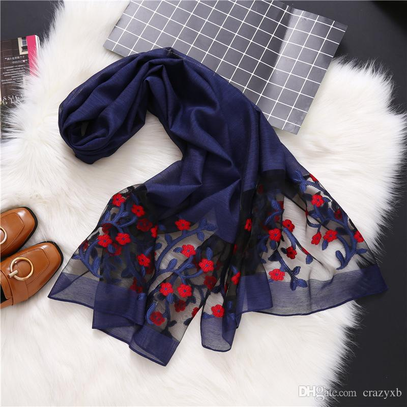 b6c1880b0 Hot 2018 New Designer Brand Women Scarf Fashion Spring Summer Silk Scarves  Hollow Floral Lady Shawls And Wraps Pashmina Scarves Shawl From Crazyxb, ...