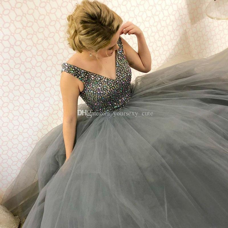 e349118d257 Dark Gray Crystal Tulle Evening Dresses V Neck Sleeveless Floor Length  Puffy Skirt Royal Blue Ball Gown Prom Dresses Formal Dress Zipper Up  Elegant Dresses ...